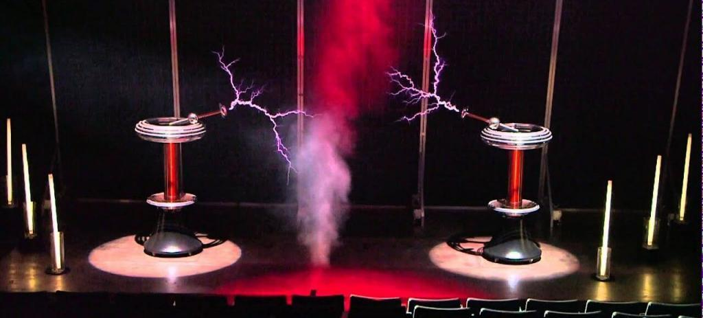 2 Tesla coils making lightning bolts at the Liberty Science Center in New Jersey.