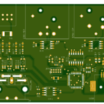 A CAD drawing of a circuit board for a MIDI to DMX converter.