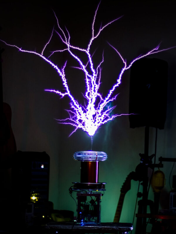 Thundermouse making giant sparks in a living room setting.