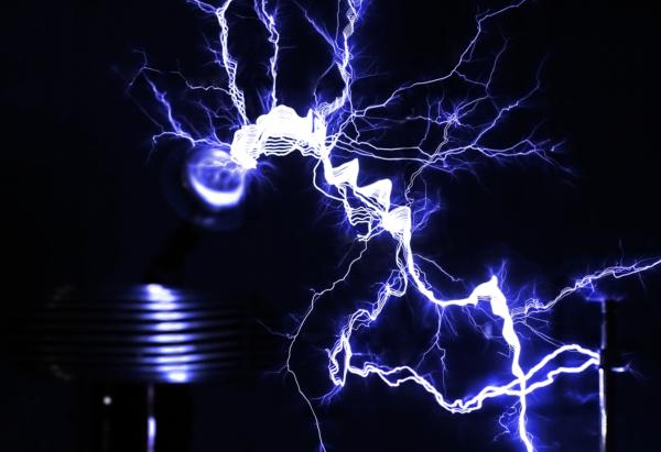 A Tesla coil producing a large artificial lightning bolt.