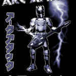A photo of arcattack's Lightning guitar poster. An anime style character holding a guitar while grasping a lightning guitar with his right hand.