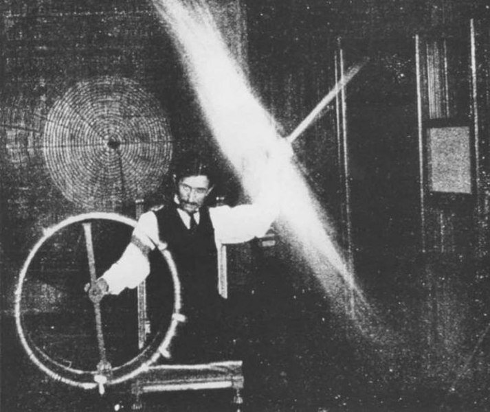 Nikola Tesla performing an experiment
