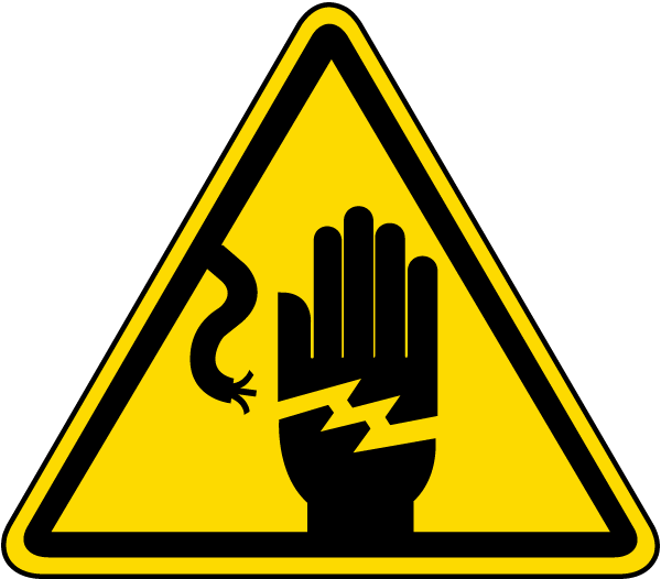 A yellow warning sign depicting an electrical cable zapping a human hand.