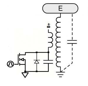 A schematic of a class E Tesla coil