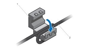 A diagram of a ferrite bead snapped onto a cable.