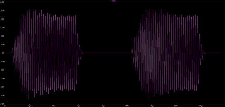 A DRSSTC waveform depicting 2 bursts.