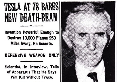 A news paper article headlining Tesla's death ray.